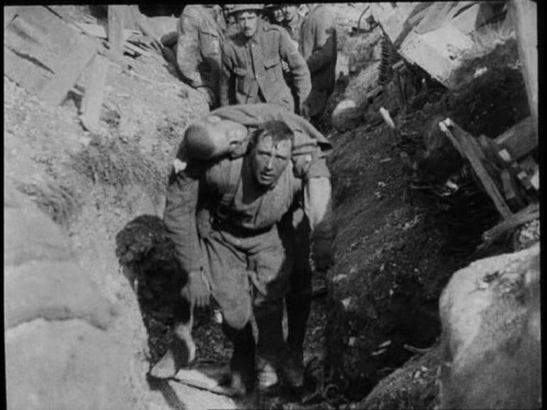 The injured man carried back into the trench died minutes later