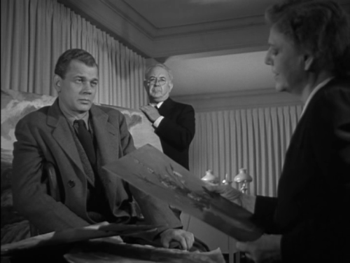 Impoverished artist Eben Adams (Joseph Cotten) makes the acquaintance of art dealers Matthews (Cecil Kellaway) and Spinney (Ethel Barrymore).