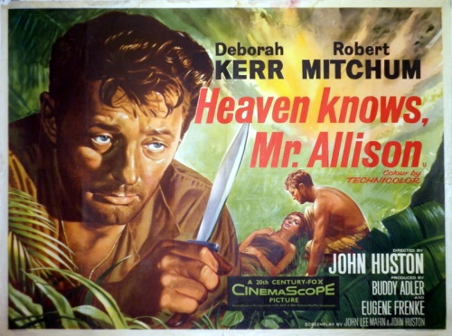 Advertising for the film tiptoed around its central subtext of eroticism between a soldier and a nun. This British poster emphasizes adventure but also evokes prurience. Notable by its absence from the image is the voluminous  habit that enshrouded Deborah Kerr's body (and red hair) for all but a moment of the film's running time.