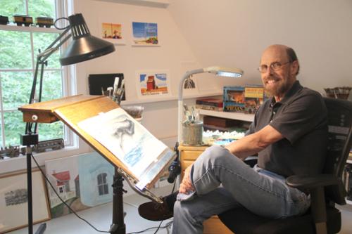 Photo of illustrator Wendell Minor in his Washington, Connecticu